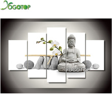Diy Diamond Painting Cross Stitch Square Sets Unfinished Full Embroidery Stone Buddha triptych VS415
