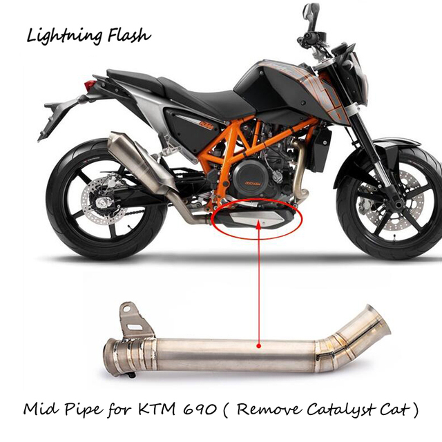 US $110 39 8% OFF|For KTM Duke 690 Titanium Alloy Mid Link Pipe Motorcycle  Exhaust System Modified Middle Elbow Remove Back Pressure Package Cat-in