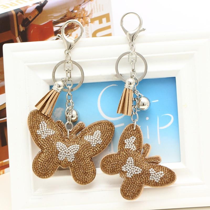 Мода PU кожа бабочка брелок кисточка брелок автомобилей сумка серебряный брелок для Для женщин аксессуары и украшения подарок, оптовая прод...