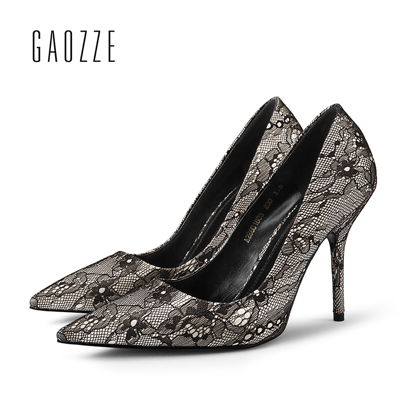 GAOZZE Black Elegant Lace Ladies Pumps Pointed Toe High Heel Shoes Party Women Pumps Shoes Designer zapatos mujer 2018 Spring fashion suede leather heeled sandals pointed toe lace up women pumps spikle high heel women shoes zapatos mujer