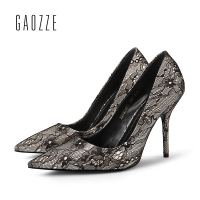 GAOZZE Black Elegant Lace Ladies Pumps Pointed Toe High Heel Shoes Party Women Pumps Shoes Designer zapatos mujer 2018 Spring