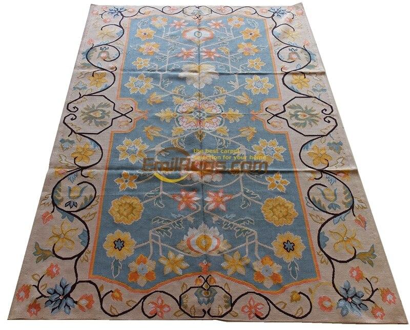 Aubusson tapis bleu Beige plus belle soie rétro splendide maison trésor #141 (4CB6) 4' X 6' SP-4 gc8aubsilk