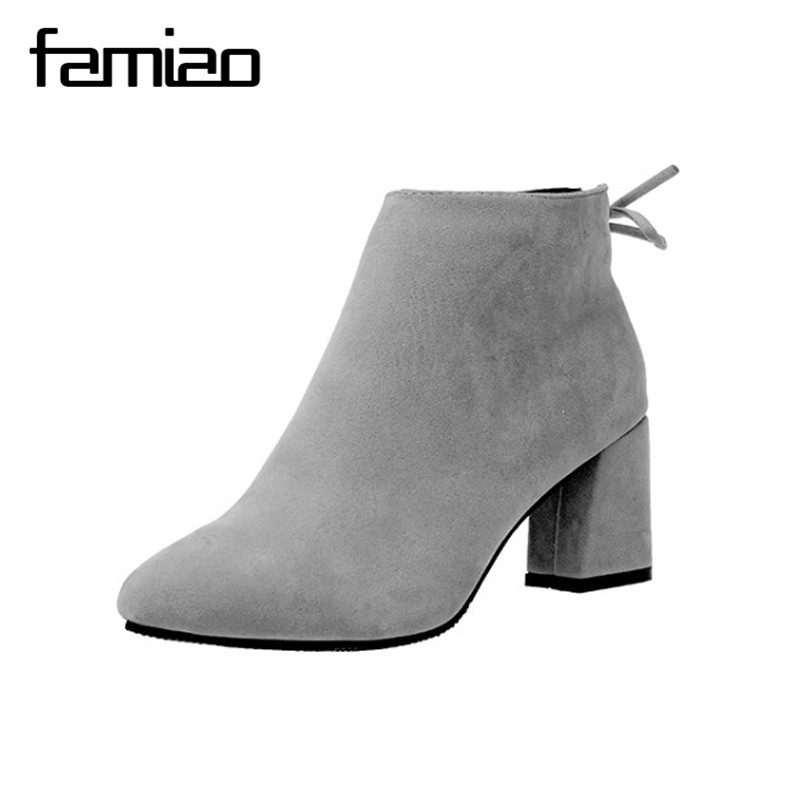 Autumn Winter Fashion Shoes Woman Flock Suede Leather Boots Ladies Thick High Heel Ankle Boots Party Shoes Size 34-45 women round toe ankle boots woman fashion platform wedge botas ladies brand suede leather high heel shoes footwear size 34 47