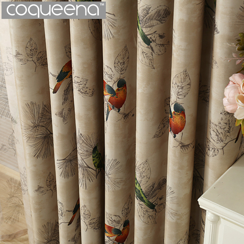 Vintage Birds Print Country Curtains For Living Room Bedroom Decorative Kitchen Curtains Drapes Window Treatments Rustic Style