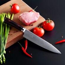 """7 """"zoll kochmesser Damaskus küchenmesser Japanischen vg10 messer geschnitten fleisch obstmesser braun holzgriff geschenk freies verschiffen"""