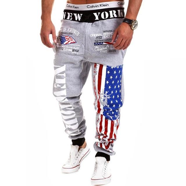 Mens harem pantalones con bolsillos chándal chándal moda Pantalones de Chándal de La Bandera Americana Star Print pantalon homm