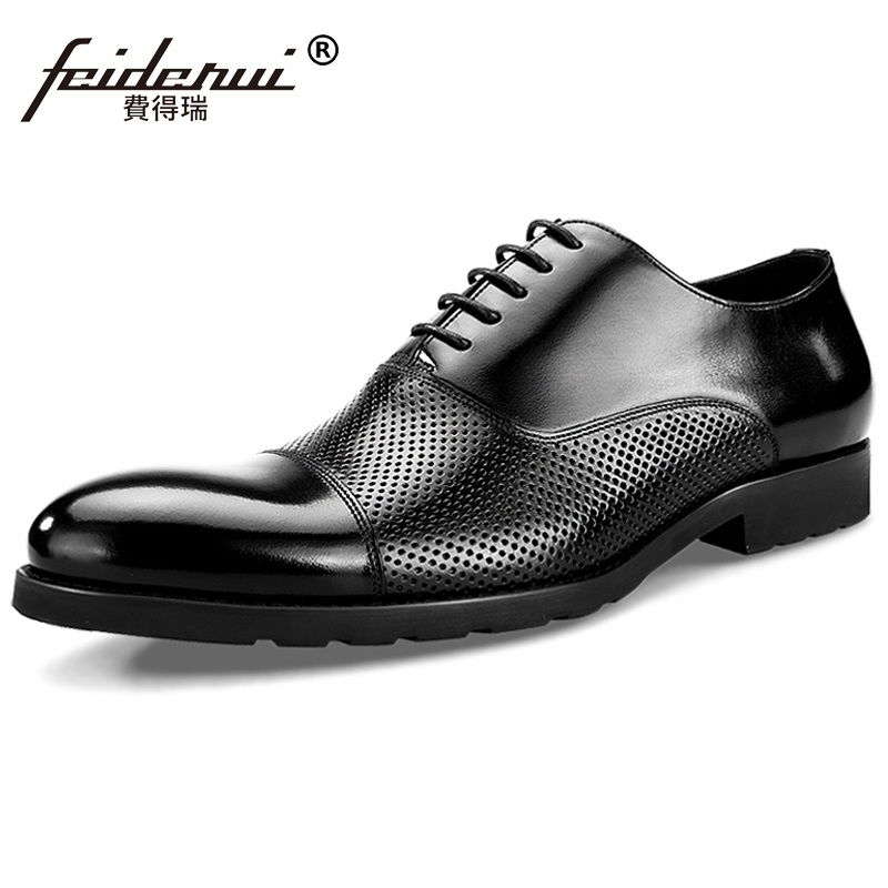 2017 Summer Style Man Handmade Wedding Shoes Male Genuine Leather Dress Oxfords Pointed Toe Formal Men