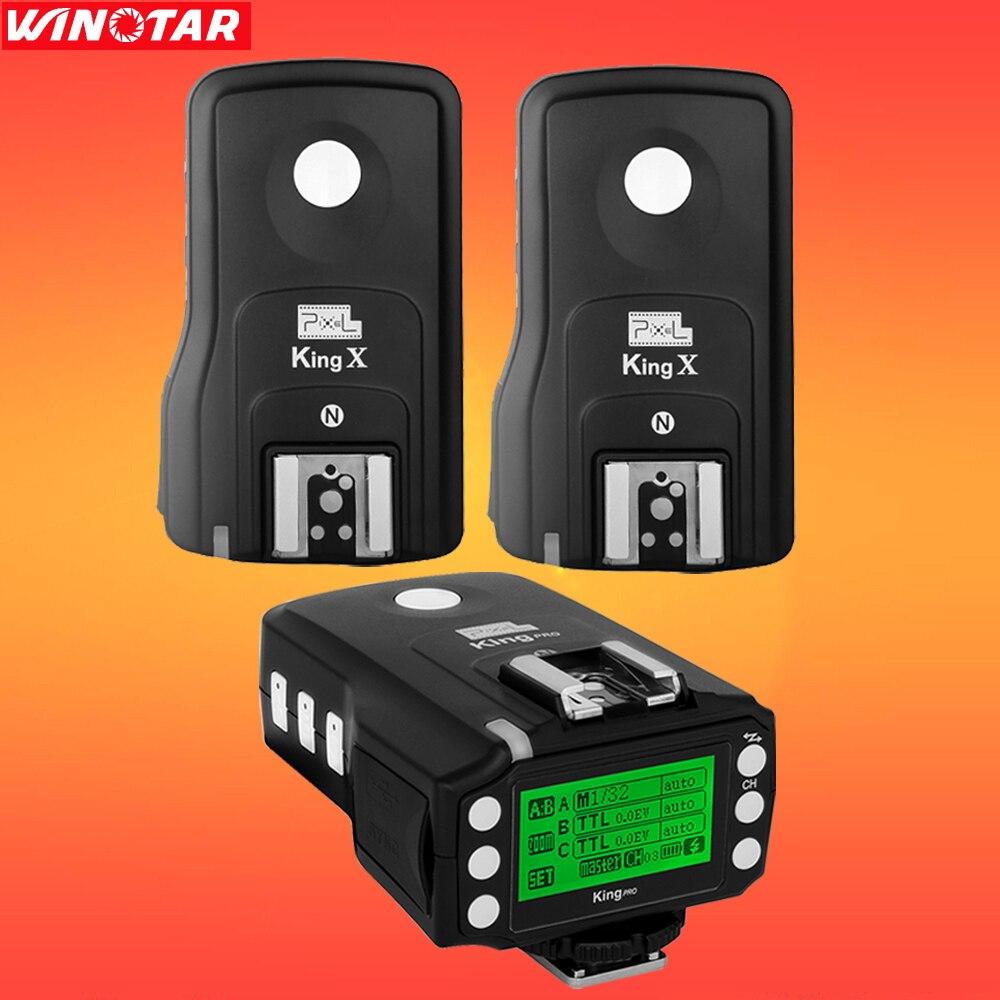 Pixel King Pro Wireless 1/8000s TTL Flash Trigger with 2 Receivers for Nikon D810 800 D7200 D7100 D5500 D750 D610 D700 D4 Camera цена