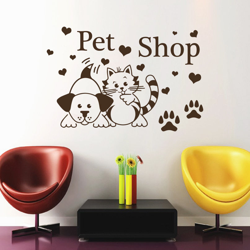 Wall Decal Pet Grooming Salon Decor Dog Cat Shop Art Heart Vinyl Sticker