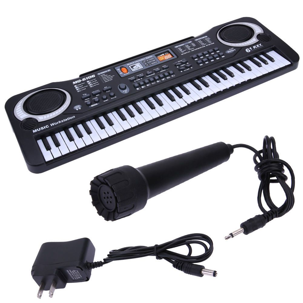 все цены на Multifunctional Electronic Piano with Microphone Plastic Children 61 Keys Digital Music Electronic Keyboard Gift for boys &girls онлайн