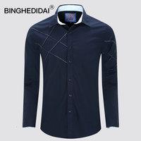 U S Size New Men Shirt Long Sleeves Spring Men Casual Shirt Navy Blue Slim Fit