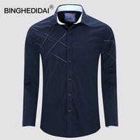 U S Size New Men Shirt Long Sleeves Spring Men Casual Shirt Navy Blue Slim Fit