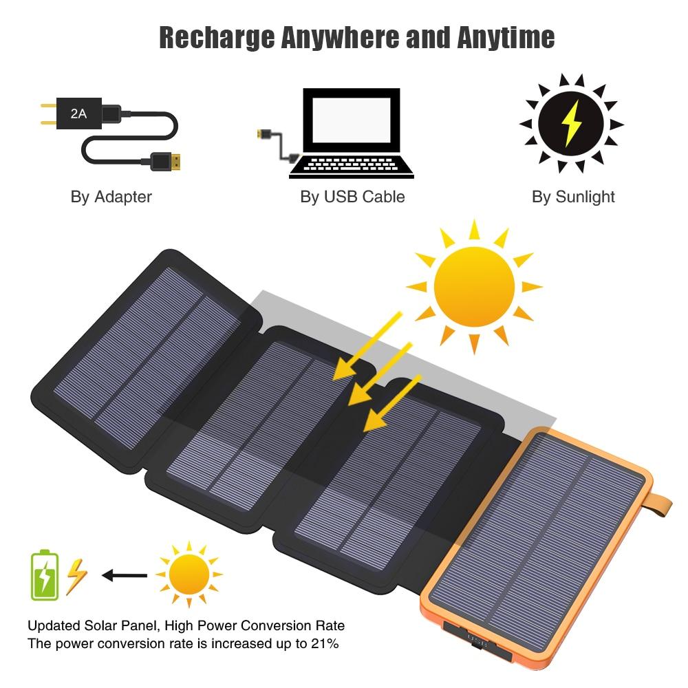Solar Power Bank 20000 mAh 5 W Panel Solar batería del teléfono Real banco de energía Solar para iPhone iPad Samsung LG HTC Sony ZTE.