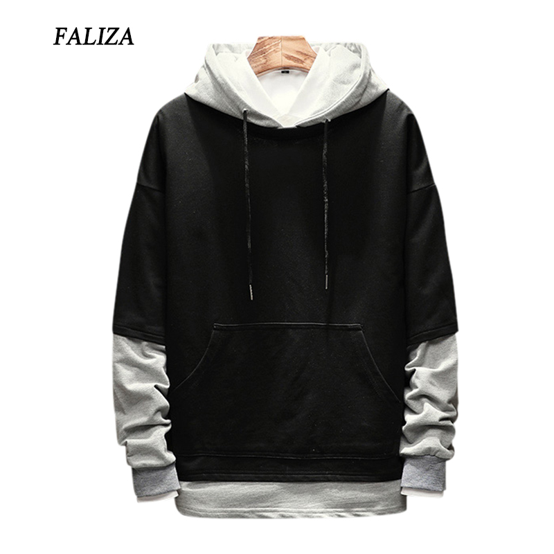 FALIZA 2019 New Spring Autumn Mens Hoodies Pullover Fake Two Pieces Hoodie Sweatshirt Male Hip Hop Hoodie Casual Sportswear WYA