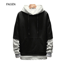FALIZA 2019 New Spring Autumn Mens Hoodies Pullover Fake Two Pieces hoodie Sweatshirt Male Hip Hop Hoodie Casual Sportswear WYA цена 2017