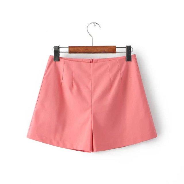 2016 Verão new arrival moda feminina cor doce casual shorts, feminina de algodão e linho calças curtas de cintura alta finas calças de pernas largas