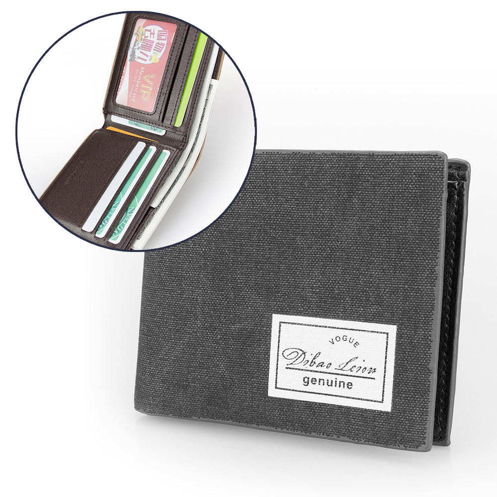 Minimalist Two Folds Wallet Classic Gray Canvas Short Wallet Money Purse Photo Card Holder Mans Leather Wallet Men Gift Wallet