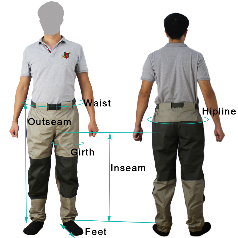 Fly Fishing Waist Waders Pant Durable Waterproof trousers Wading Breathable Waist Pants With Stocking Foot