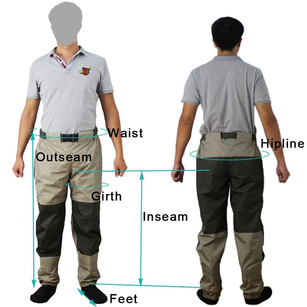 Pantalon de pêche à la mouche pantalon imperméable à l'eau Durable Wading pantalon de taille respirant avec pied de bas - 5
