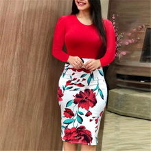 Women Plain Floral Printed Long Sleeve Dress Ladies Party Tight Fit Skater Dress Beach Holiday Slim Evening Party Pencil Dresses(China)