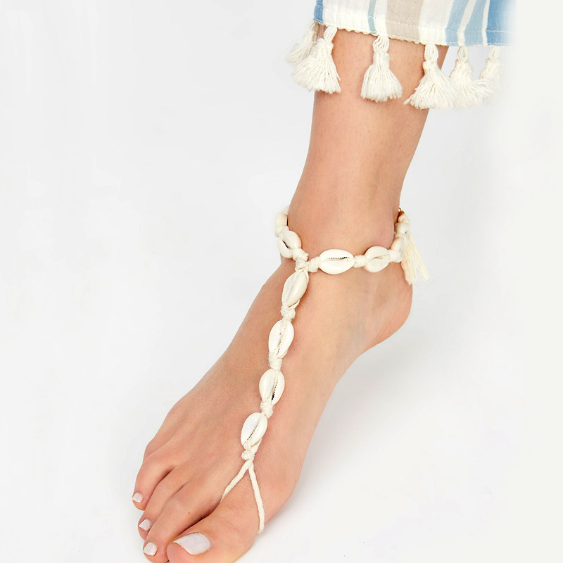 LEADERBEADS 2019Girl's Summer Beach Natural Shell Anklet Bracelet Women's Bohemian Foot Anklet Chain Holiday Jewelry Accessories