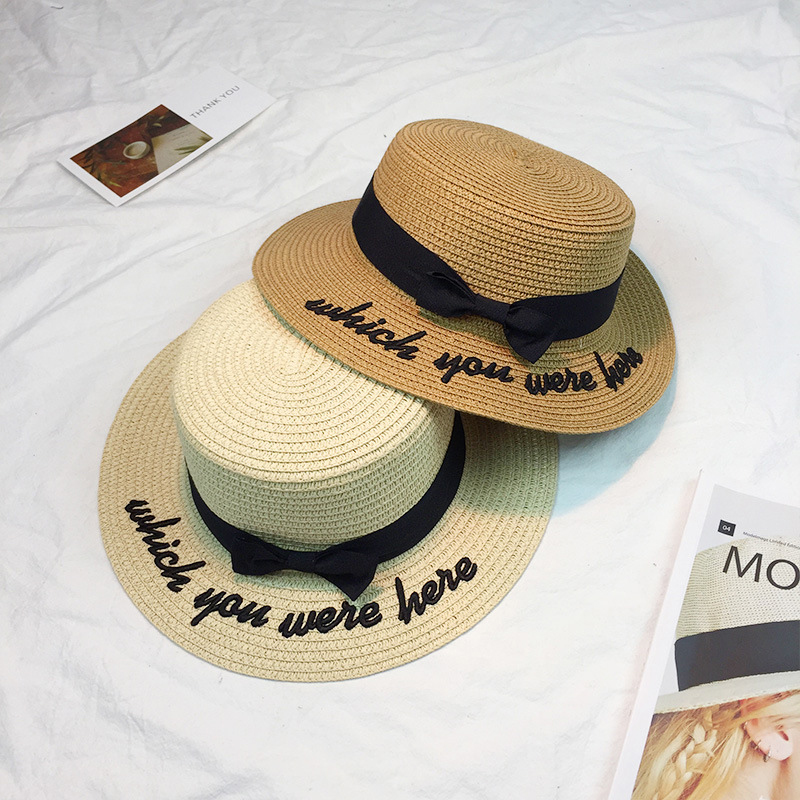 2017 Bone Sun Hat For Women Panama Cap Embroidered Which You Were Here Straw Hat Beach