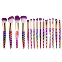 2017 Professional 15PCS Multicolor Mermaid Rainbow Makeup Brushes Unicorn Cosmetic Beauty Eyeshadow Lip Make Up Brush