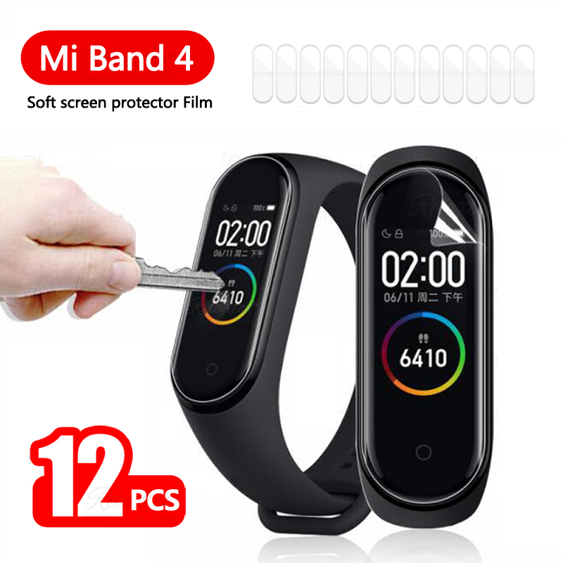 12Pcs Protective Film For Xiaomi Mi Band 4 Screen Protector On Xiomi Mi Band Miband 4 Smart Miband4 Bracelet Not Tempered Glass