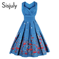 Sisjuly 2017 старинные платья цветочный печати стиль 1950 s милый синий партии женщин dress высокой талией весна рукавов винтаж платья
