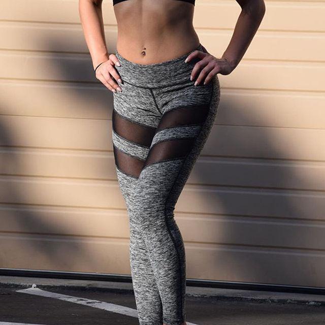 Nowe Mody Kobiety Treningu Fitness Legginsy Spodnie Kombinezon Ubrania Stylowe Kobiet Szczupła Długie Mesh Patchwork Legginsy