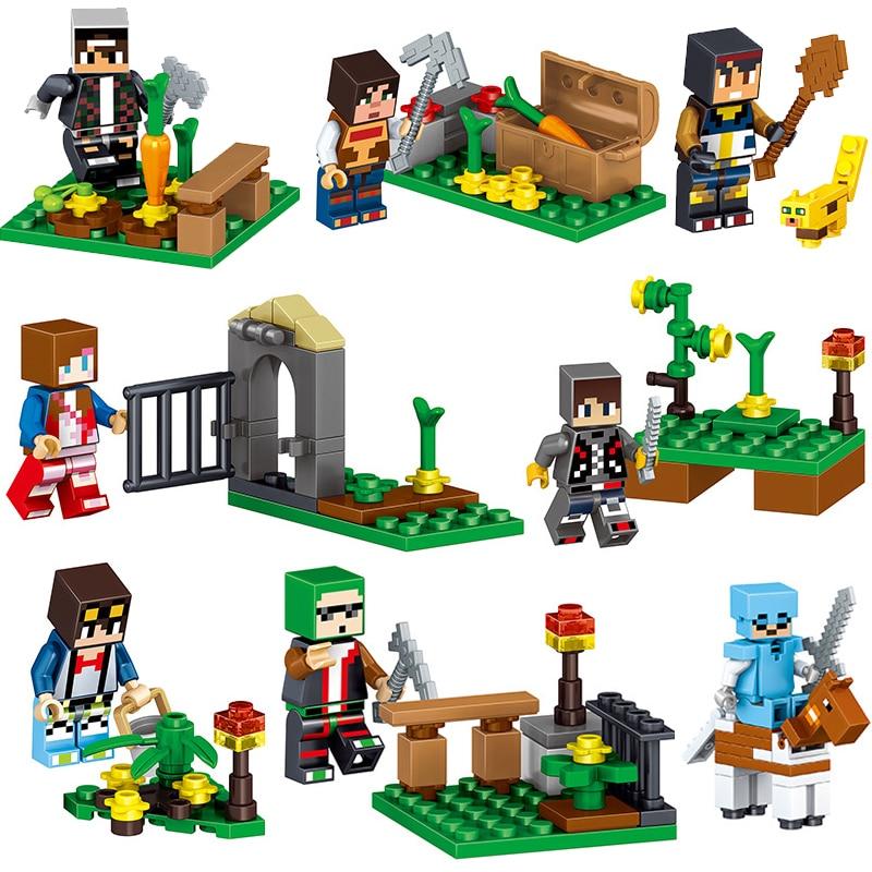 16PcsLot-Minecrafted-Steve-Alex-Zombie-Enderman-Reuben-Skeleton-Weapon-Action-Figures-Toys-Compatible-With-LegoINGlys-Blocks-3