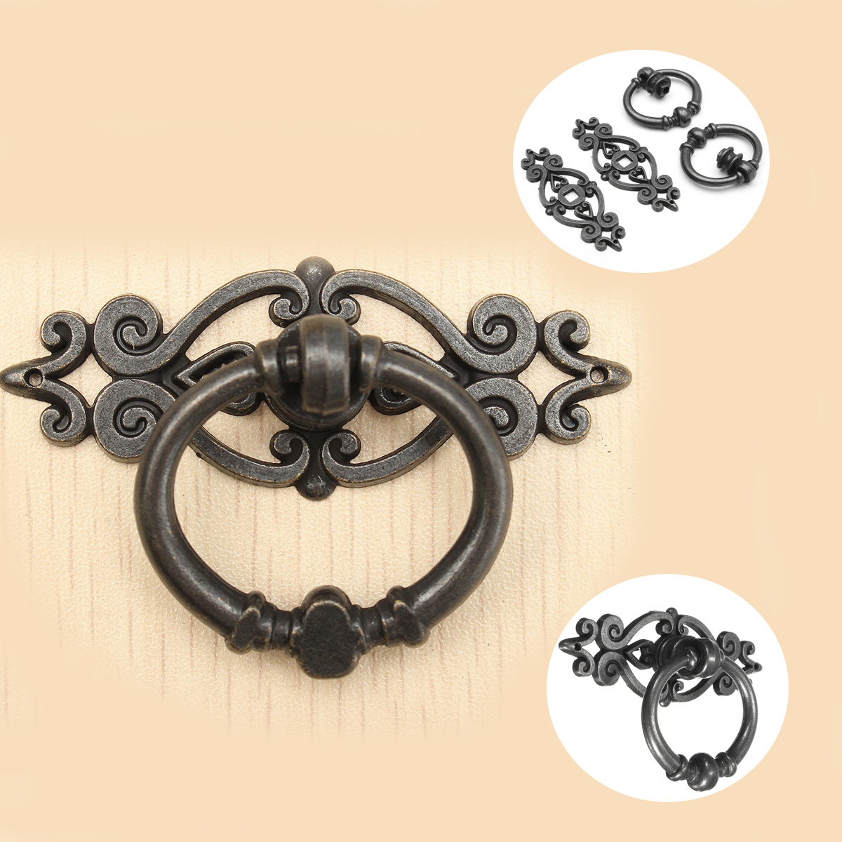uxcell Family Jewelry Box Cabinet Door Pull Handle Ring Bronze Tone 10pcs