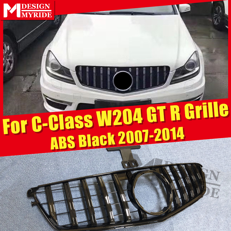 W204 C Class Sport grille grill GT R style ABS black C180 C200 250 C63 look Front Grills With borders 07 14 Not For C63AMG 07 14