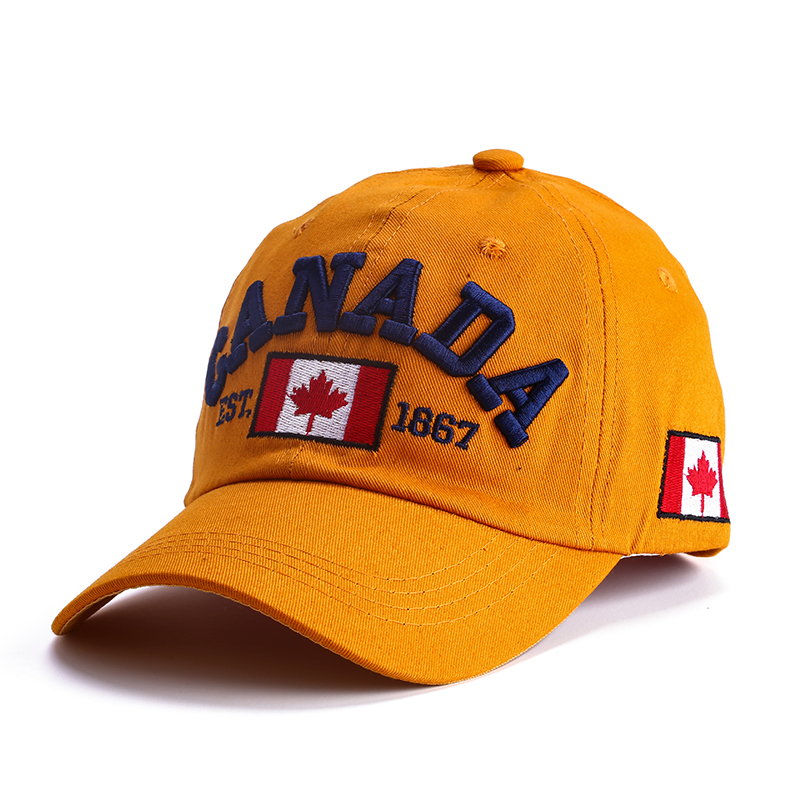 2019 latest   baseball     cap  . Canadian design Cotton letter adjustable button   cap   for men and women blue green Yellowis brown   cap