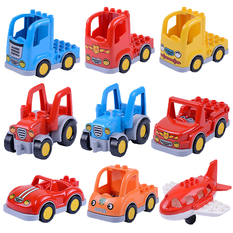 Cartoon Car mini airplane Big Particles Vehicle Building Blocks accessory DIY Toys Compatible with Duplo train track Bricks Set umeile brand farm life series large particles diy brick building big blocks kids education toy diy block compatible with duplo