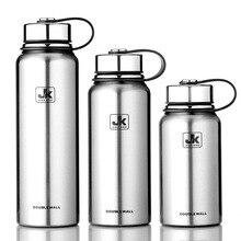 800/1100/1500ML Портативный большая вместимость нержавеющая Seel термос Спорт на открытом воздухе Термос бутылки для воды с ручкой
