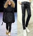 2016 Nueva Marca Famosa Mens Perfume Original Jeans Modelos de Pasarela Discoteca Bar Decadente Recubrimiento Parche Jeans Pantalón De Cuero Italiano