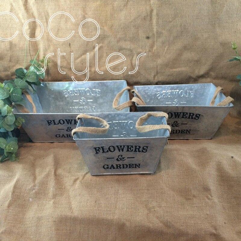 Cocostyles personnalisé blanc seau de fer oblong vintage avec poignée pour événement de fête de mariage merci boîte-cadeau et cadeau de bienvenue