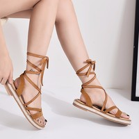 RASMEUP Genuine Leather Women's Gladiator Sandals 2018 Summer Fashion Women Roman Lace Up Flat Sandals Casual Woman Bandage Shoe