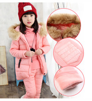 Baby Girls Sets Winter 2017 New Cotton Down Sweater Pants 3 Piece Kids Clothes Girl Suits Costume Sweet Children Clothing 3cs203