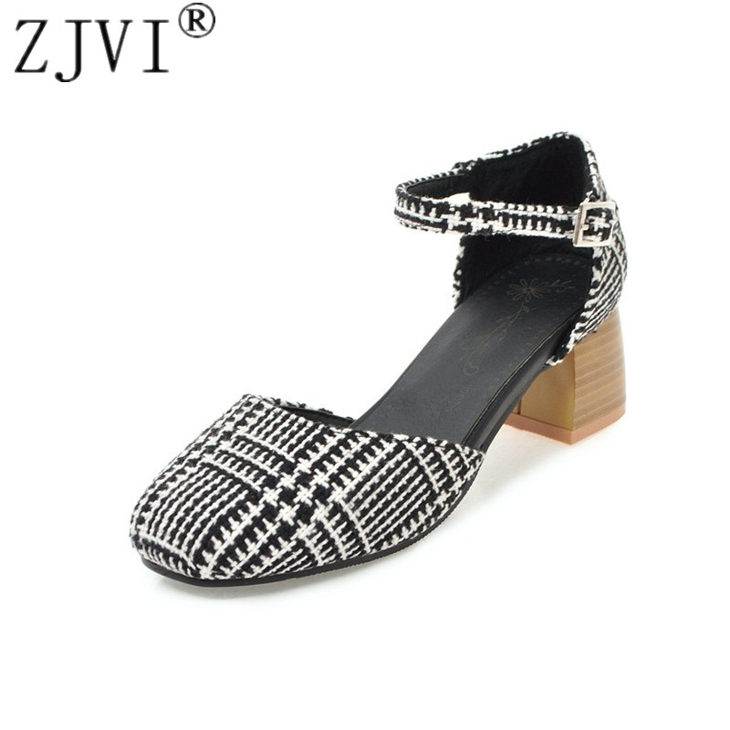 ZJVI women mid heels pumps woman casual mixed color cloth square toe shoes 2018 summer ladies womens nubuck suede casual pumps