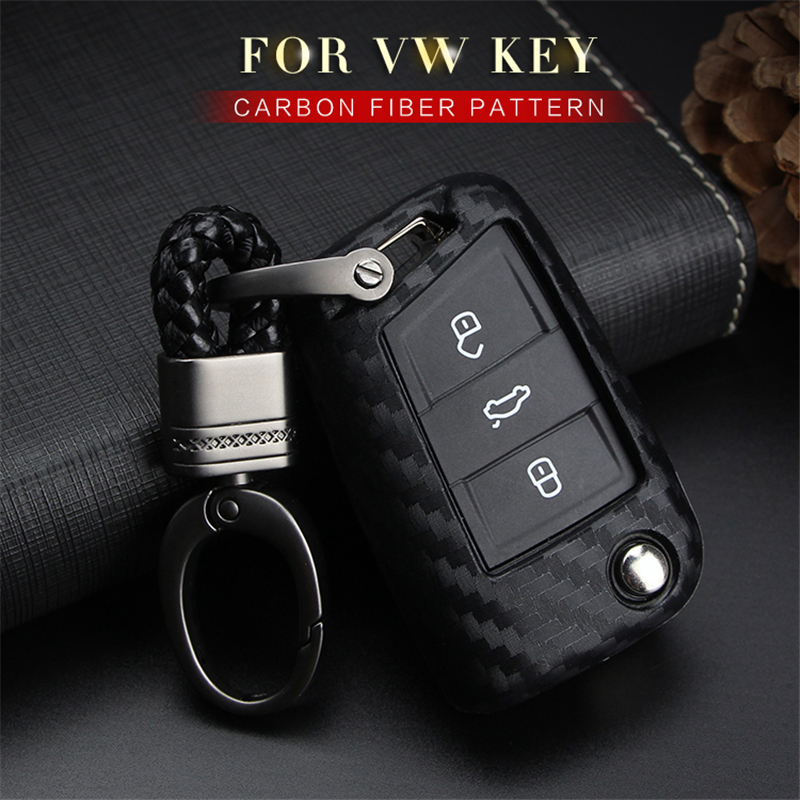 Car Keyring Key Case Cover For <font><b>VW</b></font> Volkswagen <font><b>Golf</b></font> 4 <font><b>5</b></font> 6 7 <font><b>Gti</b></font> MK7 Passat B6 B7 B8 <font><b>Carbon</b></font> Fiber Pattern Soft Silicone Key Shell image