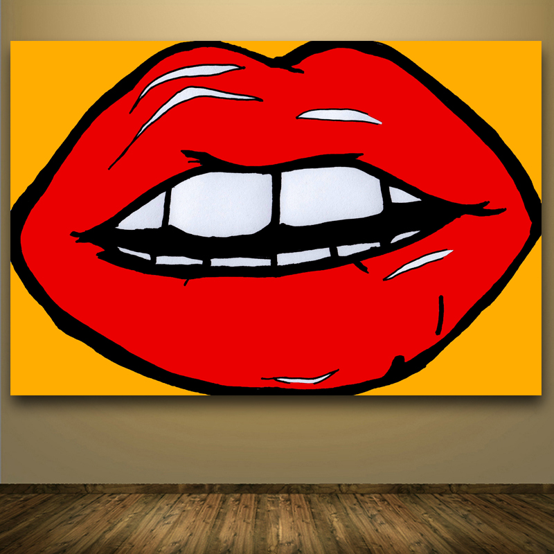 2016 top hotsale andy warhol pop art lips abstract painting wall art canvas printed painting for. Black Bedroom Furniture Sets. Home Design Ideas