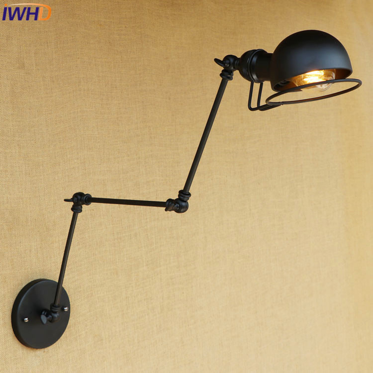 Retro Loft Style Industrial Swing Long Arm Black Iron Vintage Wall Lights For Home Bedside Edison Wall Sconce Indoor Lighting vintage wall lamp indoor lighting bedside lamps wall lights for home