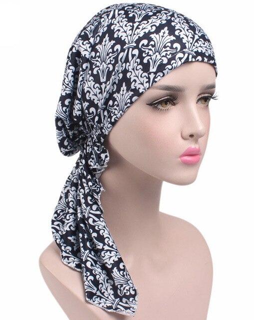 Neue Frauen Kopftuch Chemo Hut Turban Pre Gebunden Kopfbedeckung