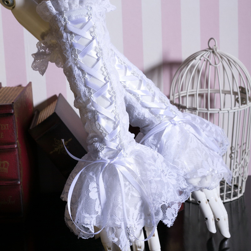 Lolita Victorian Women Elegant Long Gloves Steampunk White Hollow Out Lace-Up Gloves Lace Cuff Gloves