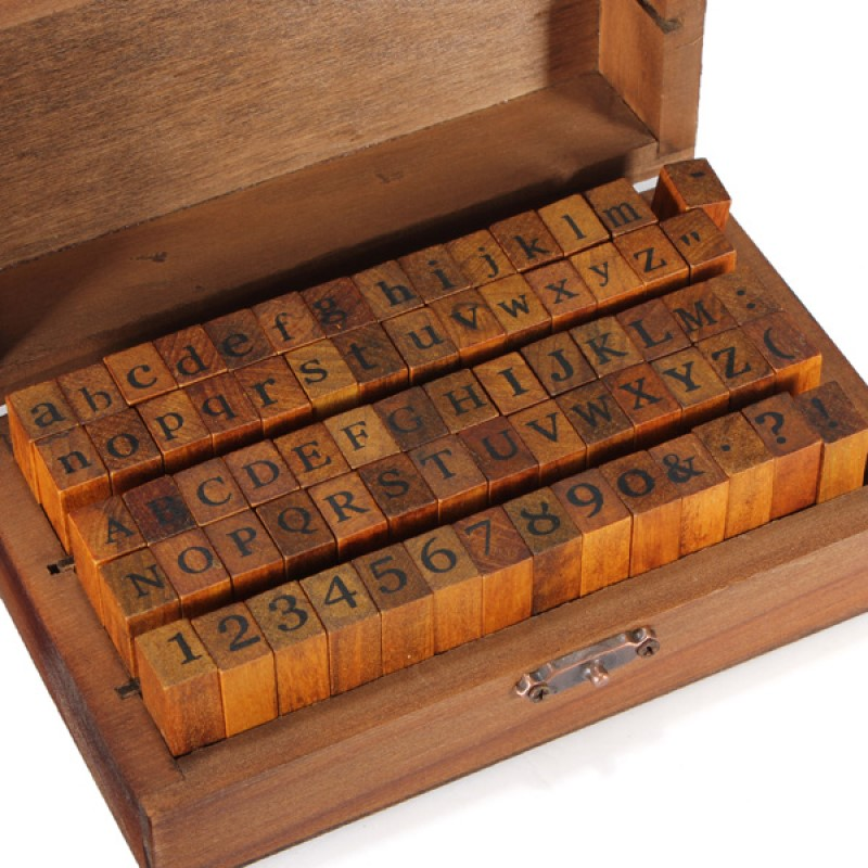 70pcs DIY Decor Wooden Stamp Upright Lower Letters Alphabet Number Symbol Retro Rubber Stamps In Wooden Box