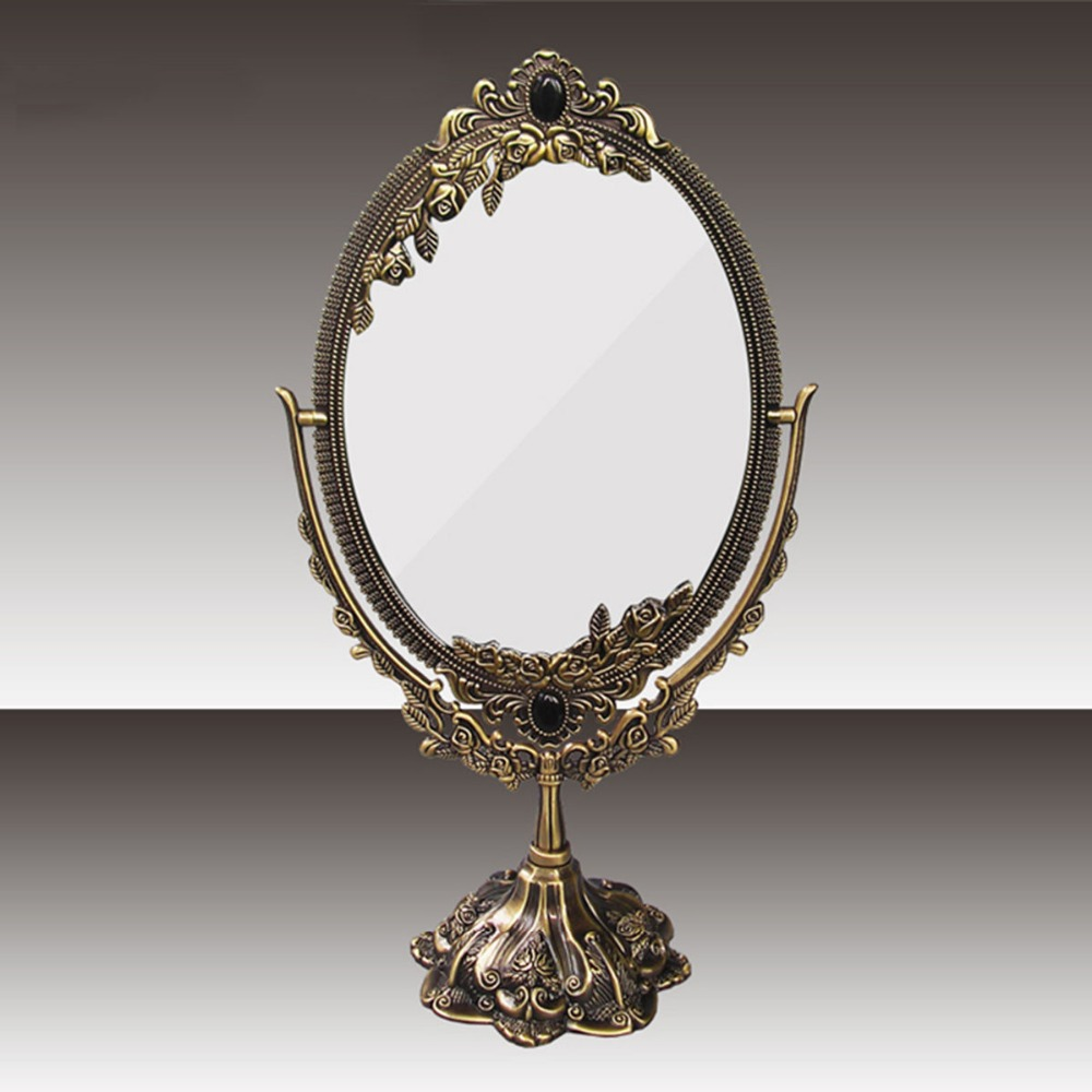 Antique Style Faux Bronze 360 Degree Rotate Dual Sided Cosmetic Mirror Make-up Mirror For Desktop Dresser Counter1206