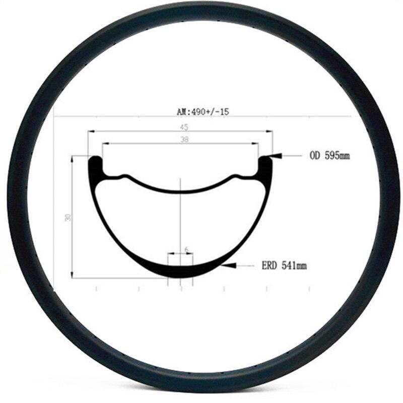 27 5er carbon mtb disc rims Asymmetry 45x30mm mountai bikes rim AM 490g mtb bike rim