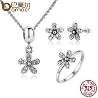 BAMOER Genuine 925 Sterling Silver Jewelry Set Dazzling Daisy Clear CZ Jewelry Sets Sterling Silver Jewelry